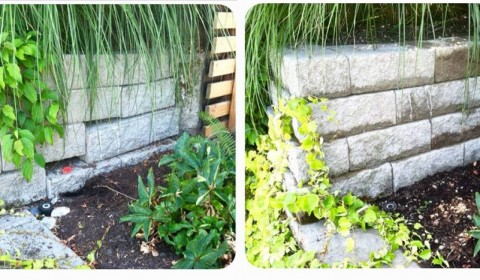 Broken Retaining Wall Repair Before and After