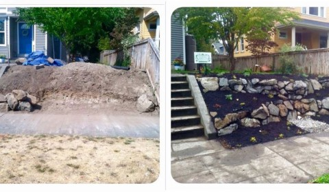 Rock Wall Install Before and After