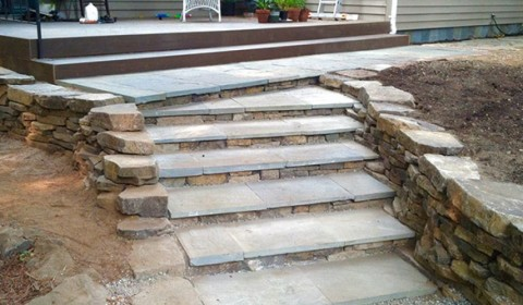 Dimensional Paver Stairs, Deck, Walkway, Dry Stack Wall, Custom Deck Railing
